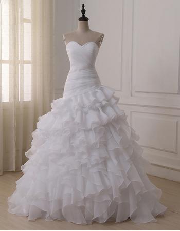 Elegant Sweetheart Floor Length Organza Layered Skirt Wedding Dresses