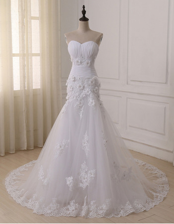 2018 New Trumpet Sweetheart Floor Length Applique Wedding Dresses