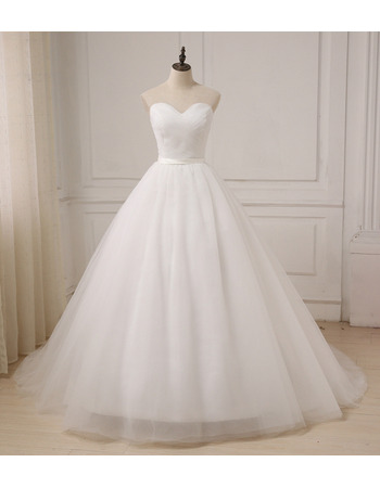 Custom A-Line Sweetheart Floor Length Organza Wedding Dresses