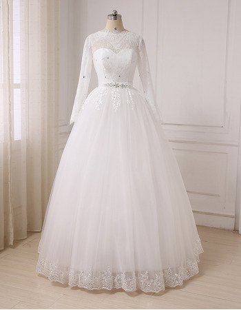 Discount Ball Gown Floor Length Wedding Dresses with Long Sleeves