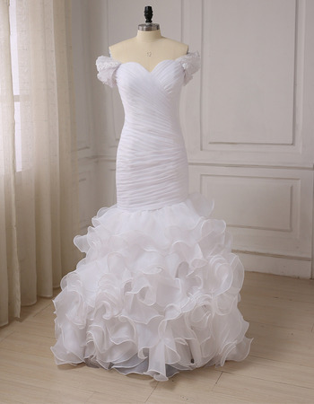 Elegant Trumpet Sweetheart Cap Sleeves Floor Length Wedding Dresses