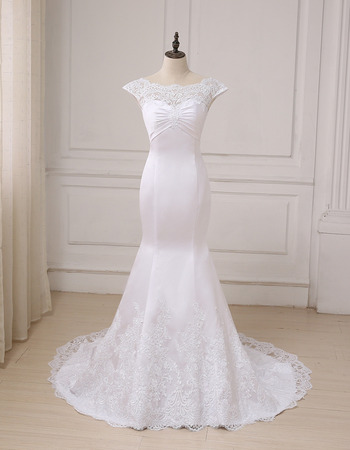Custom Trumpet Cap Sleeves Floor Length Satin Wedding Dresses