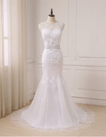 2018 New Style Trumpet Floor Length Beading Wedding Dress with Bow