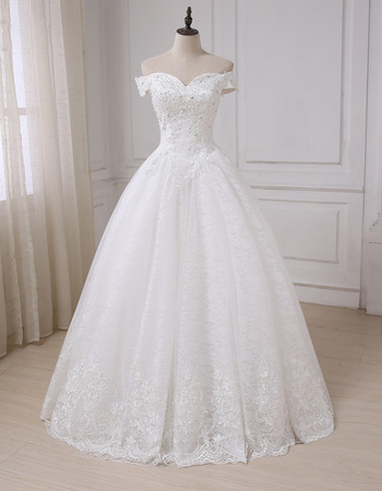 Custom Sweetheart Off-the-shoulder Floor Length Lace Wedding Dresses