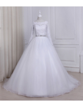 Elegant Ball Gown Floor Length Wedding Dresses with Long Lace Sleeves