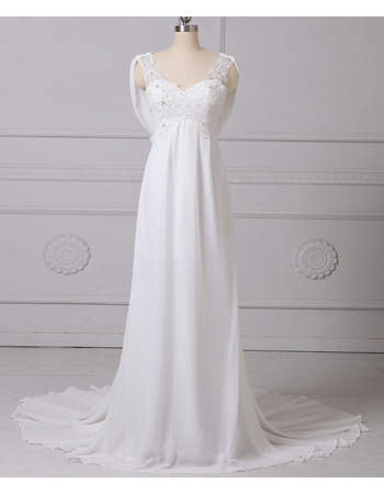 Custom Empire V-Neck Sleeveless Floor Length Chiffon Wedding Dresses