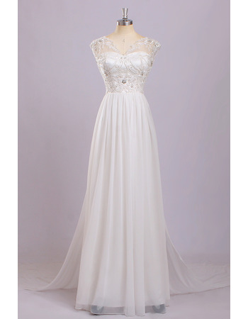 Discount V-Neck Sleeveless Floor Length Chiffon Wedding Dresses
