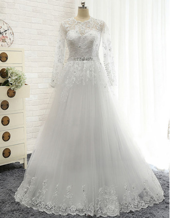 Vintage A-Line Floor Length Tulle Wedding Dresses with Long Sleeves