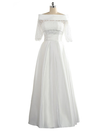 Elegant Off-the-shoulder Taffeta Wedding Dresses with Half Sleeves