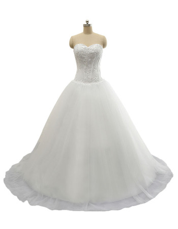 Inexpensive A-Line Sweetheart Court Train Lace-Up Wedding Dresses