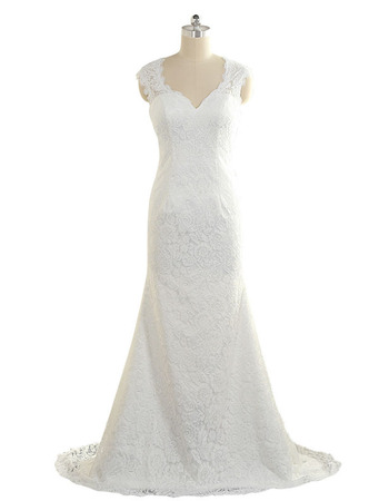Elegant Sheath Sweetheart Sleeveless Floor Length Lace Wedding Dresses