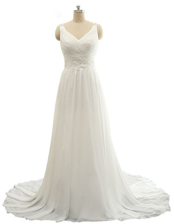 Custom V-Neck Sweep Train Chiffon Wedding Dresses with Straps