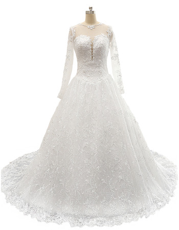 Affordable A-Line Court Train Lace Wedding Dresses with Long Sleeves