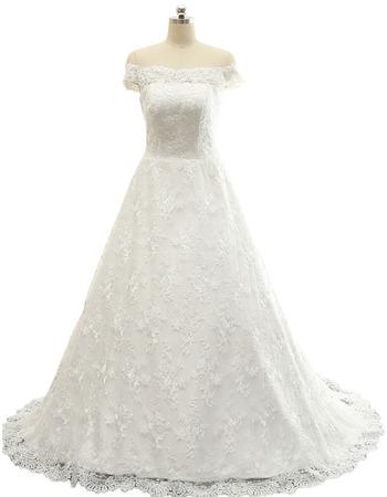 Elegant A-Line Off-the-shoulder Sweep Train Lace Wedding Dresses