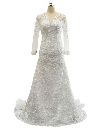 Custom V-Neck Floor Length Lace Wedding Dresses with Long Sleeves