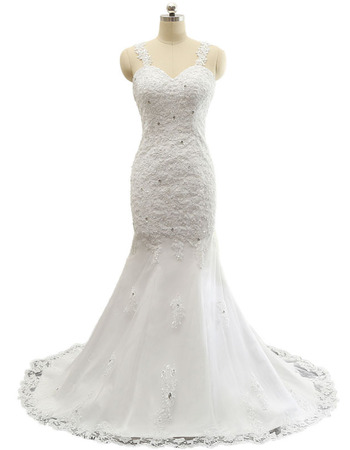 Discount Sheath Sweetheart Floor Length Wedding Dresses with Straps
