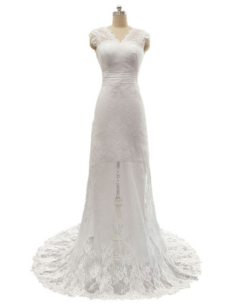 Elegant Sheath V-Neck Sleeveless Sweep Train Lace Wedding Dresses