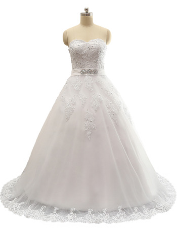 2018 Style Ball Gown Sweetheart Sweep Train Satin Wedding Dresses