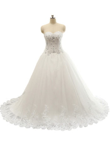 Custom Sweetheart Chapel Train Satin Organza Wedding Dresses