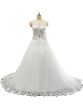 Discount Sweetheart Chapel Train Satin Organza Wedding Dresses