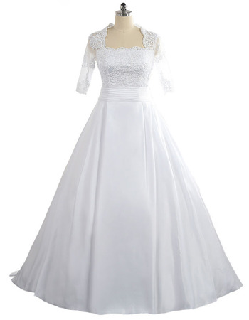 2018 New Square Floor Length Taffeta Wedding Dress with Half Sleeves