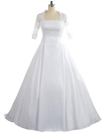 2018 New Square Floor Length Taffeta Wedding Dress with Half Sleeves