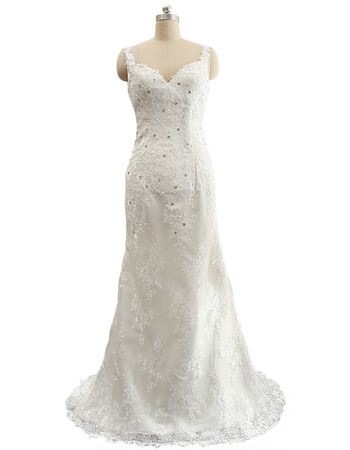 Affordable Sheath Sweetheart Lace Wedding Dress with Spaghetti Straps