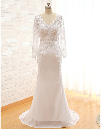 2018 Style V-Neck Sweep Train Wedding Dresses with Long Sleeves