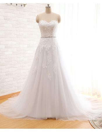 Custom A-Line Sweetheart Court Train Organza Wedding Dresses