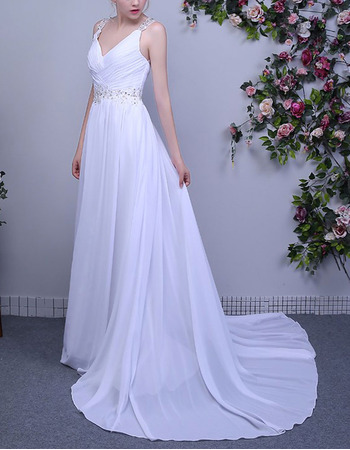 2018 New Style V-Neck Sleeveless Sweep Train Chiffon Wedding Dresses