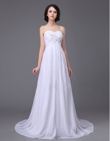 Inexpensive Sweetheart Sweep Train Chiffon Empire Wedding Dresses