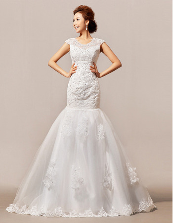 Elegant Trumpet Floor Length Satin Organza Beading Wedding Dresses