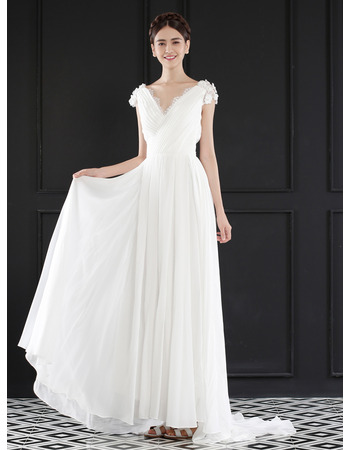 2018 V-Neck Floor Length Chiffon Wedding Dresses with Short Sleeves