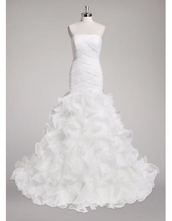 Custom Sheath Strapless Sweep Train Organza Ruffle Skirt Wedding Dress