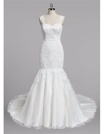 Discount Trumpet Sweetheart Straps Sweep Train Lace Wedding Dresses