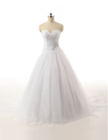 Custom Ball Gown Sweetheart Floor Length Satin Organza Wedding Dresses