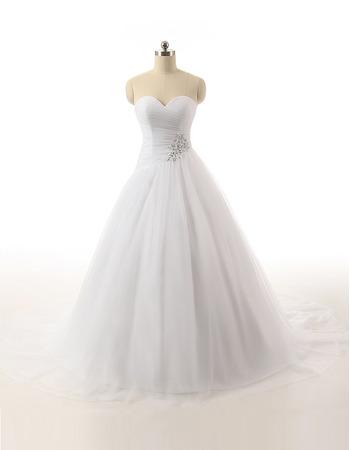 Custom Ball Gown Sweetheart Floor Length Satin Organza Wedding Dresses