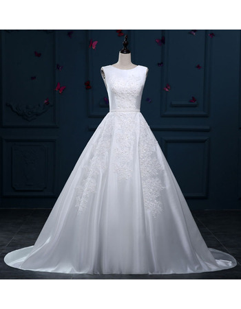 Inexpensive Ball Gown Sleeveless Sweep Train Satin Wedding Dresses