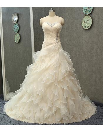 Affordable Sweetheart Sweep Train Organza Ruffle Skirt Wedding Dresses