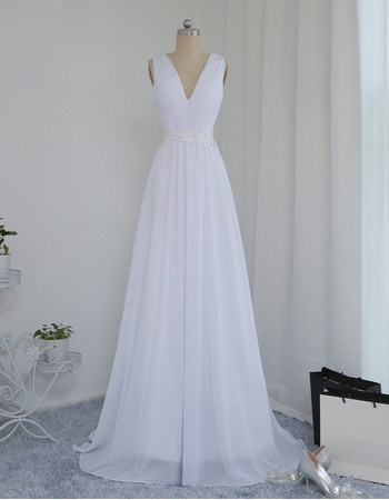 Vintage V-Neck Sleeveless Sweep Train Chiffon Wedding Dresses