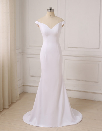 Discount Sheath Off-the-shoulder V-Neck Long Satin Wedding Dresses