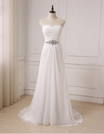 Elegant Sweetheart Floor Length Chiffon Lace-Up Wedding Dresses