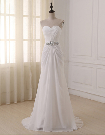 2018 New Sweetheart Floor Length Chiffon Lace-Up Wedding Dresses