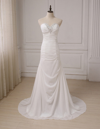 Affordable Sweetheart Sweep Train Chiffon Pleated Wedding Dresses