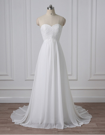 Custom Sweetheart Sleeveless Sweep Train Chiffon Wedding Dresses