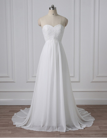 Vintage Sweetheart Sleeveless Sweep Train Chiffon Wedding Dresses