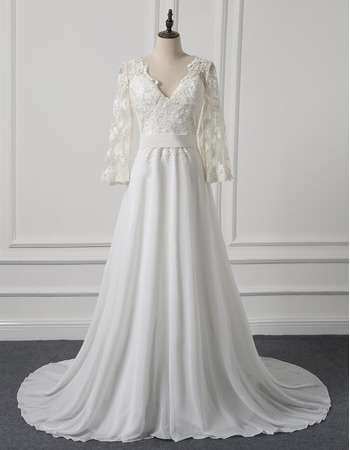 2018 V-Neck Sweep Train Chiffon Wedding Dresses with 3/4 Long Sleeves