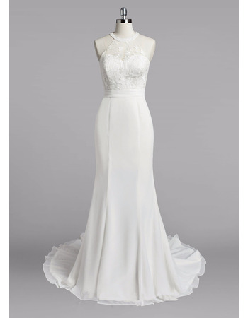 Custom Sheath Halter Sleeveless Sweep Train Chiffon Wedding Dresses