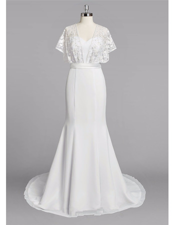 Discount Sweetheart Long Chiffon Wedding Dresses with Short Sleeves