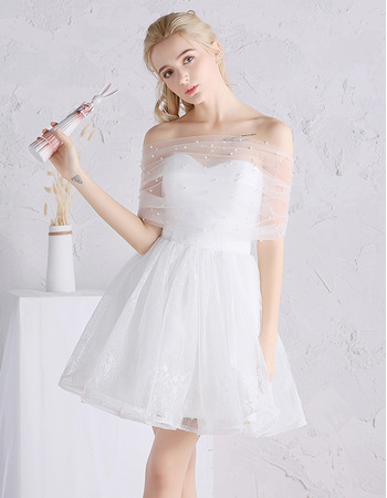 2018 Summer Off-the-shoulder Mini/ Short Tulle Wedding Dresses